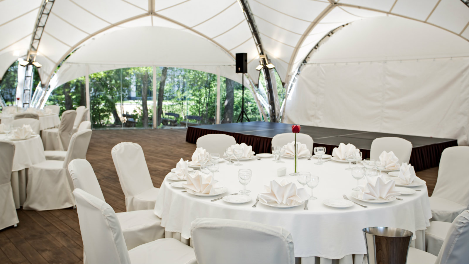 Summer heated tent surrounded by beautiful forest at Sheraton Moscow Sheremetyevo